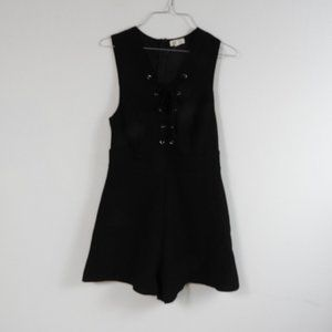 C160 silence & noise Sexy Black Lace Up Romper 6